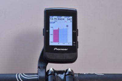 パイオニア新型GPSサイクルコンピューター「SGX-CA600」スマートトレーナーコントロール機能 細かな勾配の変化と標高をグラフで表示してくれる