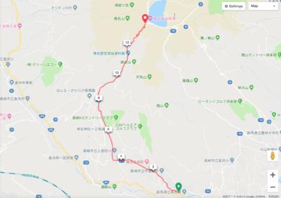 パイオニア新型GPSサイクルコンピューター「SGX-CA600」Goole MAP上で作成した榛名山ヒルクライムのコース