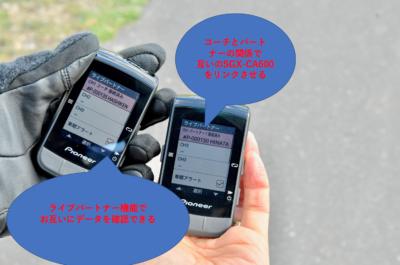 パイオニア新型GPSサイクルコンピューター「SGX-CA600」ライブパートナー機能を使ってみた コーチとパートナーでSGX-CA600をリンクさせるとライブパートナー機能で互いのデータを確認できる