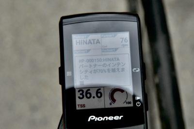 パイオニア新型GPSサイクルコンピューター「SGX-CA600」ライブパートナー機能を使ってみた パートナーのインテンシティが設定を超えるとアラートで知らせてくれる