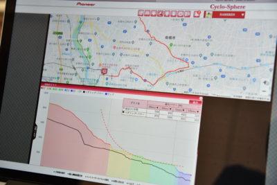 シクロスフィアでは、チェックしたい区間の詳細データ確認することもできる