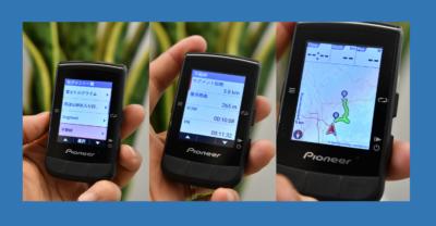 パイオニア新型GPSサイクルコンピューター「SGX-CA600」左:設定、中央:Stravaライブセグメント、右:セグメント一覧