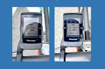 パイオニア新型GPSサイクルコンピューター「SGX-CA600」セグメントのお知らせ表示画面では、上からセグメント開始地点までの距離、峠の距離、標高差。下段に、KOMタイムと自己最速タイムが表示される