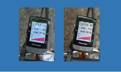 パイオニア新型GPSサイクルコンピューター「SGX-CA600」左:自己最速タイムとのタイム差表示、右:区間最速タイム(KOM)とのタイム差表示