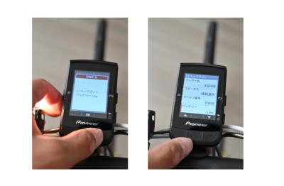パイオニア新型GPSサイクルコンピューター「SGX-CA600」バッテリー残量チェック画面