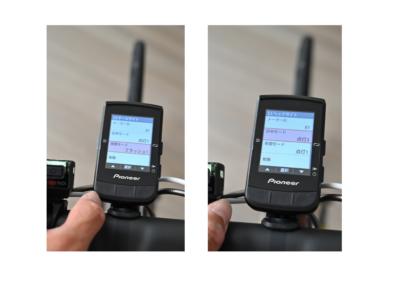 パイオニア新型GPSサイクルコンピューター「SGX-CA600」日中モードと夜間モードの切り替え画面
